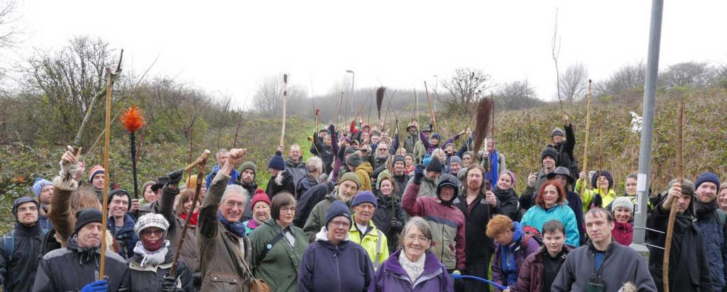 Image of local people from Brighton demonstrating to save Whitehawkhill Nature Reserve
