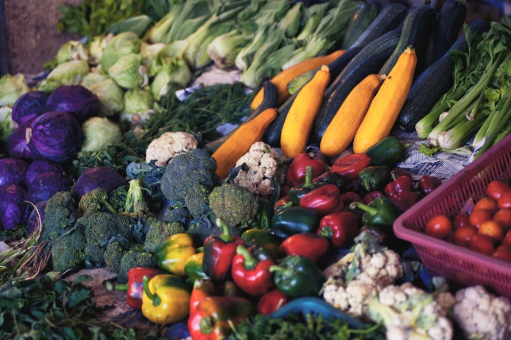 Color photograph showing selection of Veg Box vegetables available